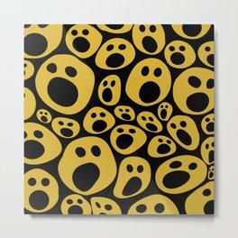 Halloween Smiley faces pattern Yellow Metal Print