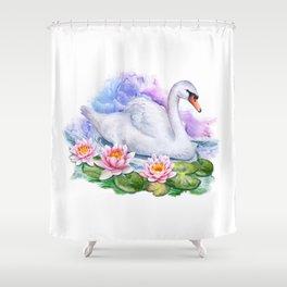 Watercolor Lotus Swan Shower Curtain