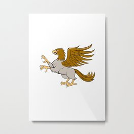 Hippogriff Prancing Side Isolated Cartoon Metal Print