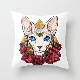 Egyptian Sphynx Cat Pharaoh Throw Pillow