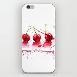 Bright cherry. Hand drawn watercolor illustration. Watercolor berries. iPhone Skin