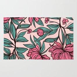 Floral Obsession (pink peonies vintage flowers pattern) Rug