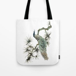 Turquoise Peacock Tote Bag