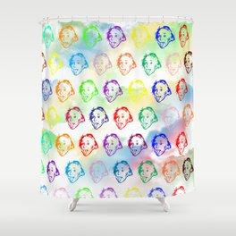 Einstein Stencil Work Shower Curtain