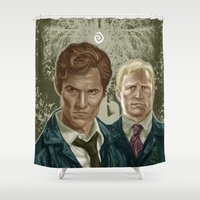 true detective Shower Curtains featuring True Detective I by Valentina Testa