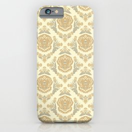 Golden Retriever with Thistle Damask Pattern iPhone Case
