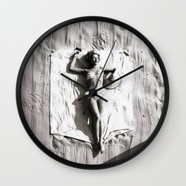 A French Riviera Afternoon in a bikini black and white photograph Wall Clock