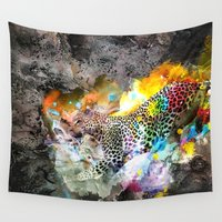 leopard Wall Tapestries featuring LEOPARD by sametsevincer