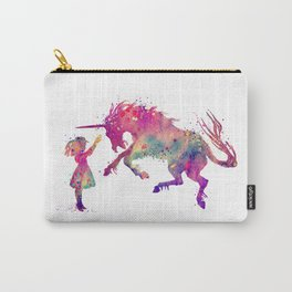 Girl and Unicorn Art Watercolor Art Unicorn Gifts Fantasy Art Unicorn Lovers Art Carry-All Pouch