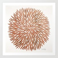 rose gold Art Prints featuring Rose Gold Burst by Cat Coquillette