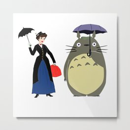 Mary Poppin and cat umbrela Metal Print