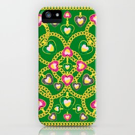 Golden Chains and Luxurious Jewelry Pattern iPhone Case