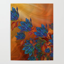 """Blue flowers on orange silk"" (Air Spring at night) Poster"