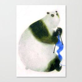 """Un panda tricote..."" Book cover Canvas Print"