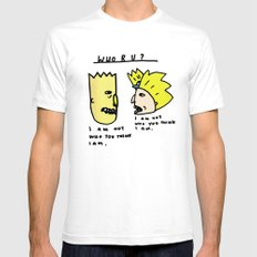 I Am Not Who You Think I Am - Bart Simpson, Hey Arnold  MEDIUM White Mens Fitted Tee