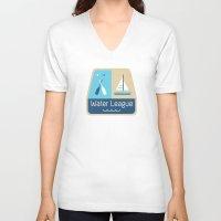 league V-neck T-shirts featuring Water League by Julie Pinzur