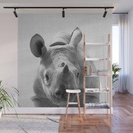 Baby Rhino - Black & White Wall Mural