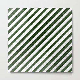Large Dark Forest Green and White Candy Cane Stripes Metal Print