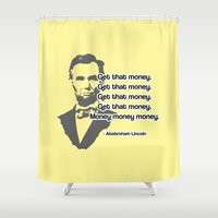 lincoln Shower Curtains featuring Abebroham Lincoln by Spooky Dooky