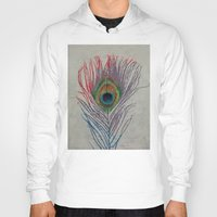 peacock feather Hoodies featuring Peacock Feather by Michael Creese