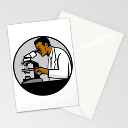 African American Research Scientist Mascot Stationery Cards
