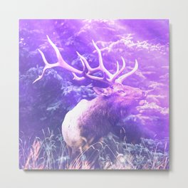 forest elk purple aesthetic wildlife art abstract nature photography Metal Print
