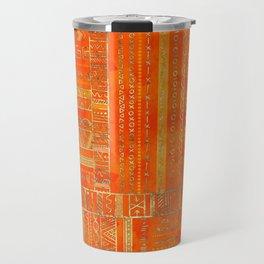 Tribal Ethnic pattern gold on bright orange Travel Mug