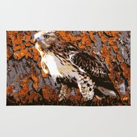 hawk Area & Throw Rugs featuring Cooper's Hawk by Judy Palkimas