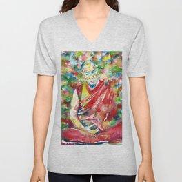 14th DALAI LAMA - TENZIN GYATSO - watercolor portrait Unisex V-Neck