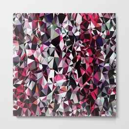 geometric triangle polygon pattern abstract in red pink black Metal Print