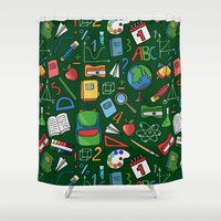 backpack Shower Curtains featuring Back to school by Julia Badeeva