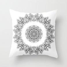 Black And White Floral Mandala Throw Pillow