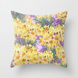 Yellow Daffodil Garden Throw Pillow