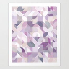 Pastel Purple Geometric on Linen Art Print