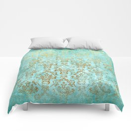 Mermaid Gold Aqua Seafoam Damask Comforters