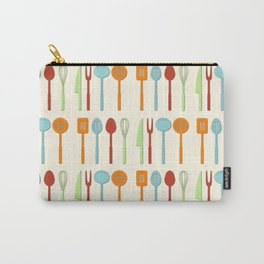 Kitchen Utensil Colored Silhouettes on Cream Carry-All Pouch