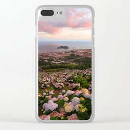 Azorean town at sunset Clear iPhone Case
