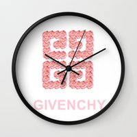 givenchy Wall Clocks featuring Givenchy Roses by I Love Decor