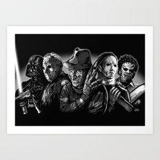Freddy Krueger Jason Voorhees Michael Myers leatherface Darth Vader Blackest of the Black Art Print