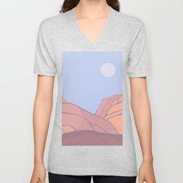 mojave moon: desert landscape painting Unisex V-Neck