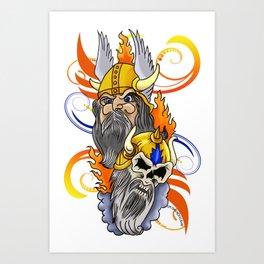 Viking Head Tattoo Design Art Print