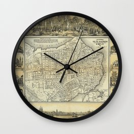 Map of Havana 1853 Wall Clock