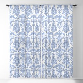 Floral Pattern Blue Sheer Curtain