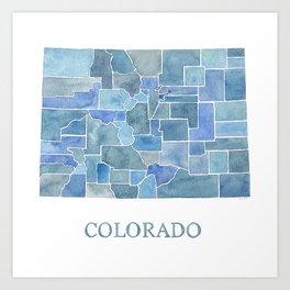 Colorado Counties BluePrint Watercolor Map Art Print