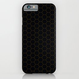 Black with fine line gold hexagon pattern iPhone Case