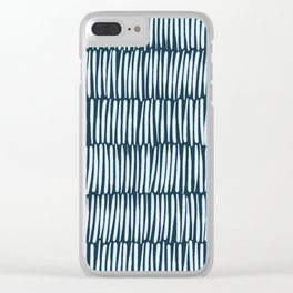 Inspired by Nature | Organic Line Texture Dark Blue Elegant Minimal Simple Clear iPhone Case