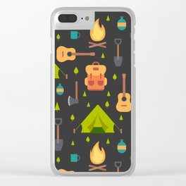 Camping Themed Pattern Clear iPhone Case