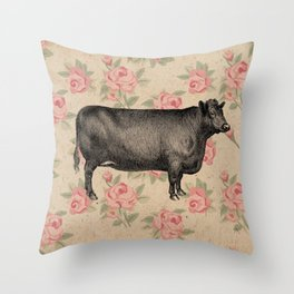 COW VINTAGE FLORAL Throw Pillow