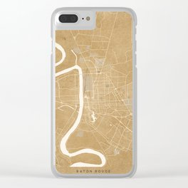 Vintage map of Baton Rouge Louisiana in sepia Clear iPhone Case