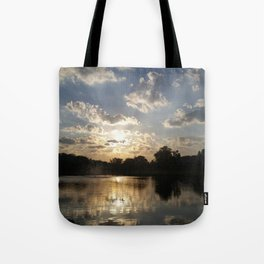 Water Fountain Sunset Tote Bag